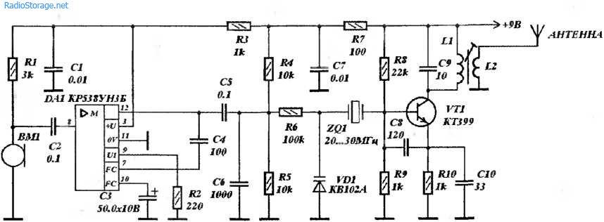 Радиомикрофон 27мГц (КР538УН3Б, КТ399)