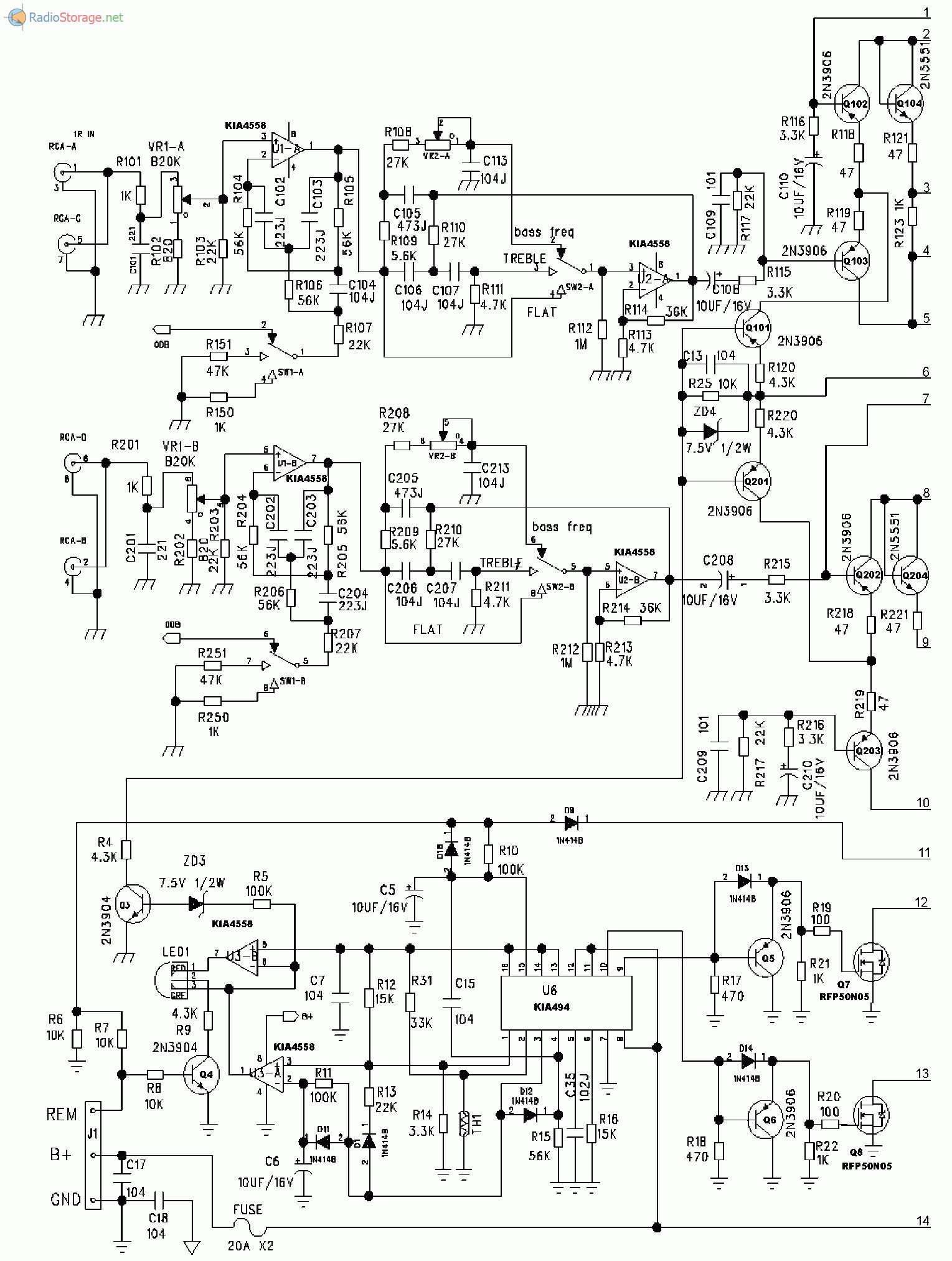 Принципиальная схема усилителя SUPRA SBD-A2135 (часть 1)