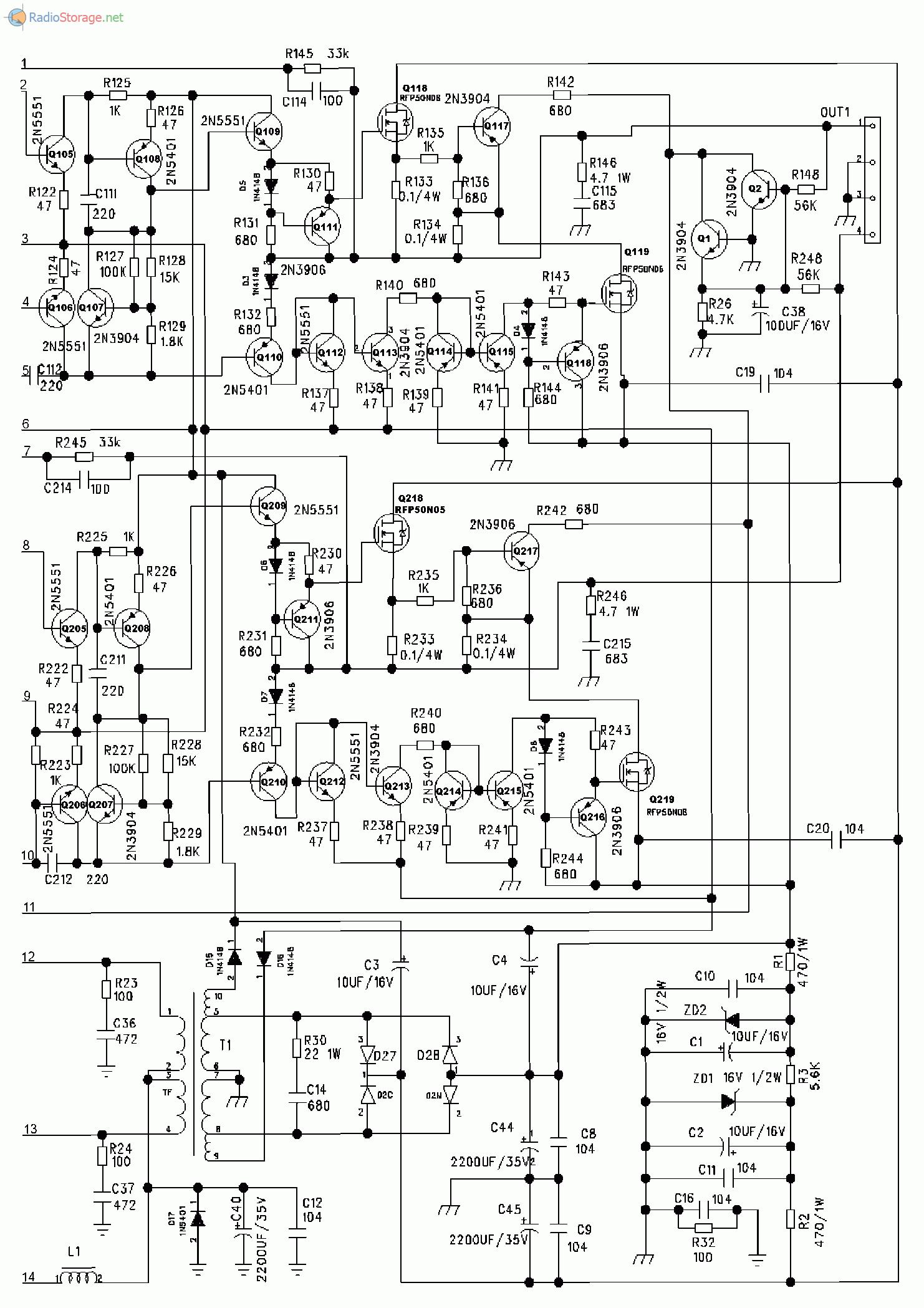 Принципиальная схема усилителя SUPRA SBD-A2135 (часть 2)