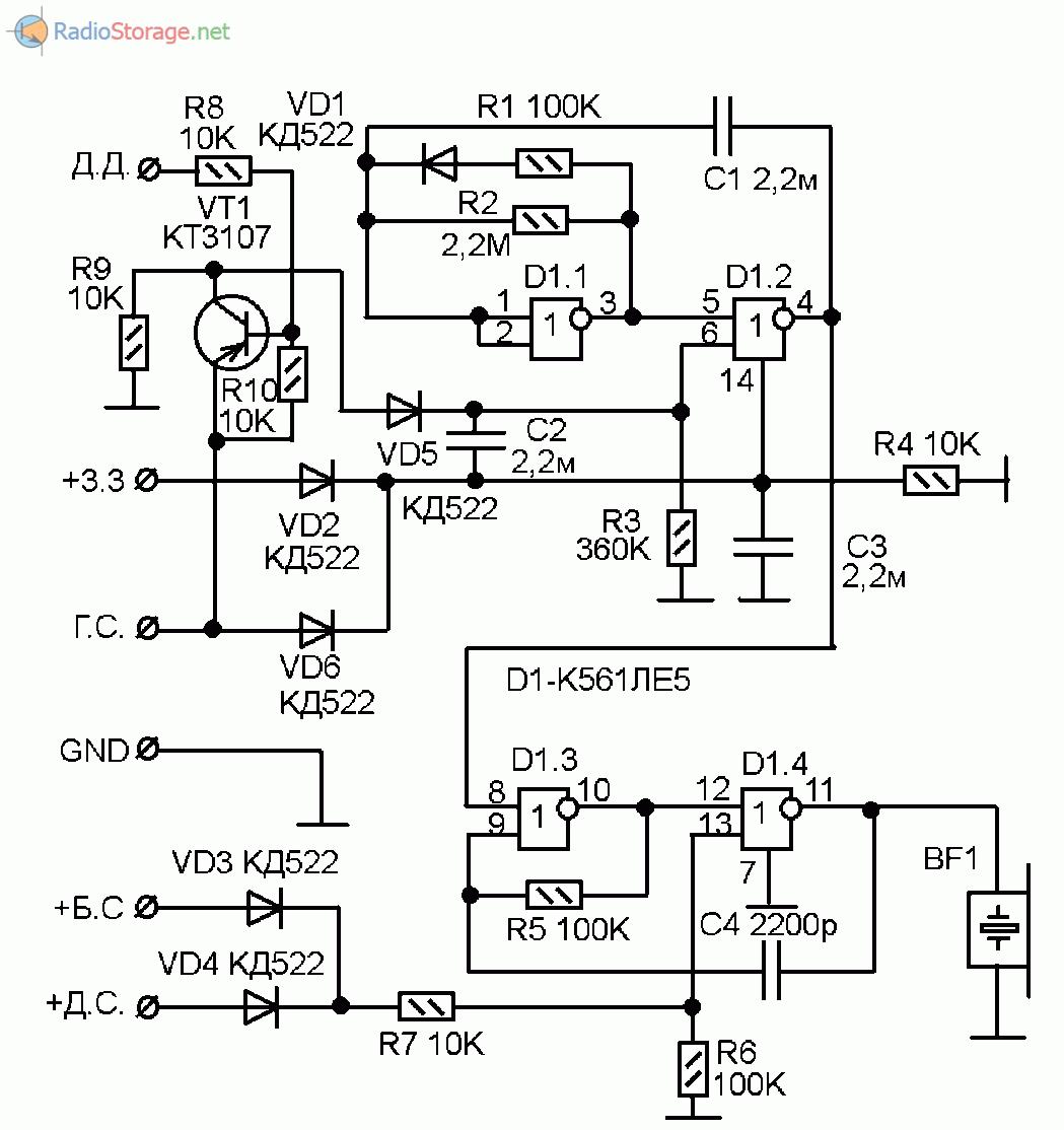 Принципиальная схема сигнализатора состояния автомобильных фар