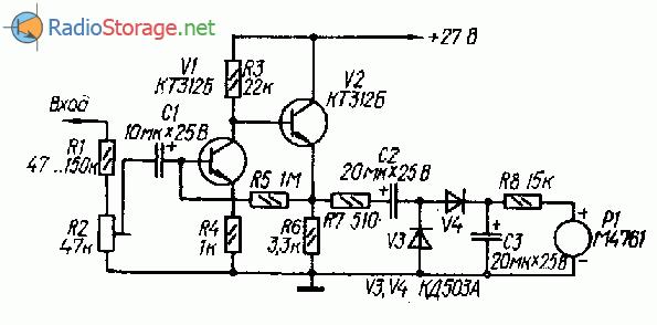 Индикатор уровня записи для магнитофона