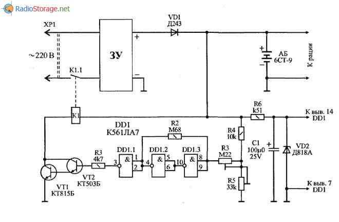 Устройство для поддержания заряда батареи 6СТ-9, схема