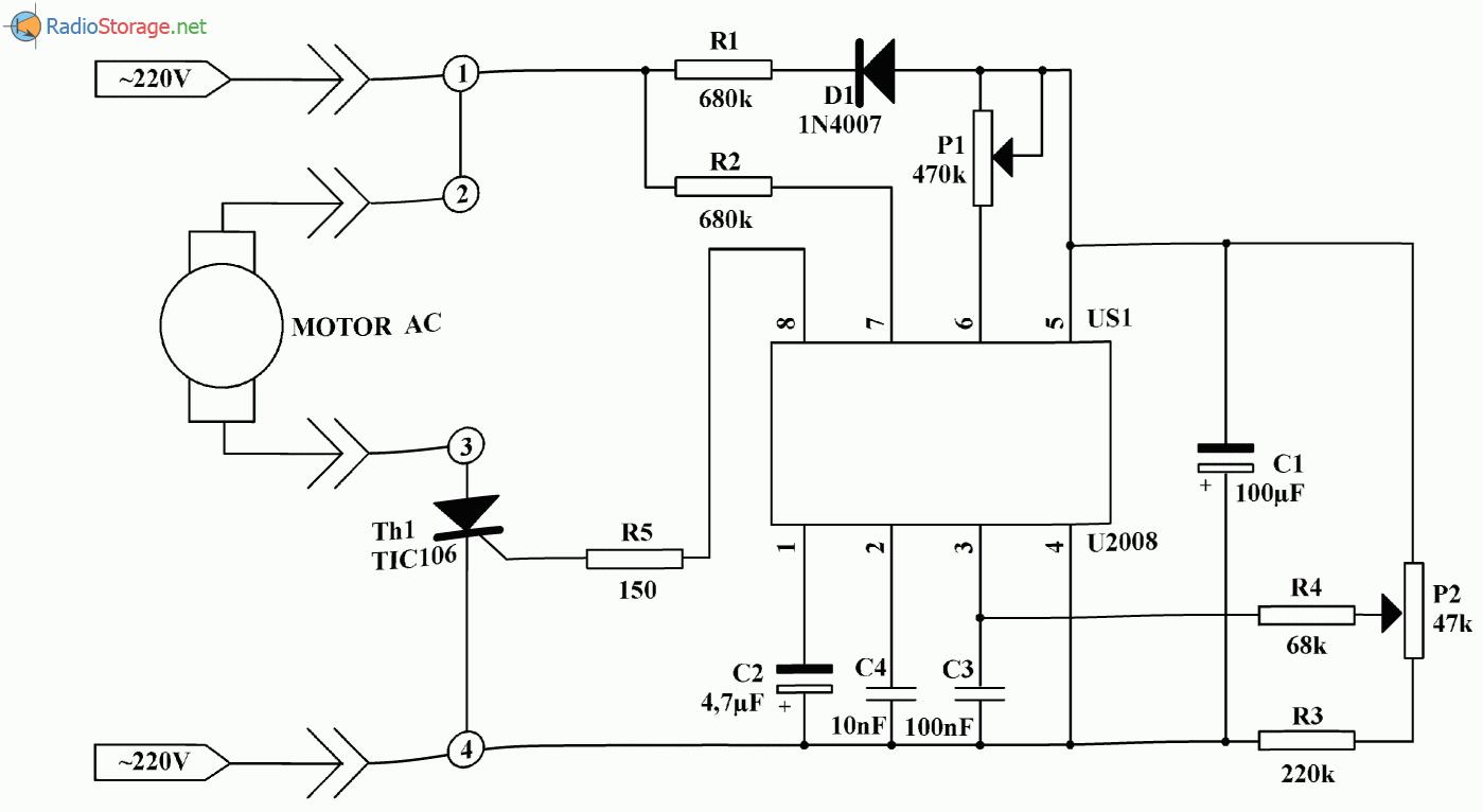 Регулятор-стабилизатор оборотов для коллекторных электродвигателей 220В, схема