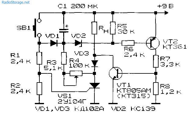 Принципиальная схема таймера на тиристоре 2У104