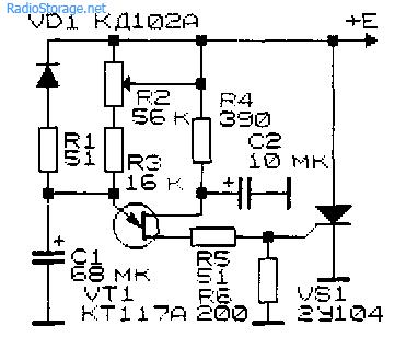 Схема реле времени для включения электродвигателей и другой нагрузки