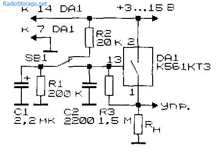 Схема реле времени на КМОП-коммутаторе К561КТ3