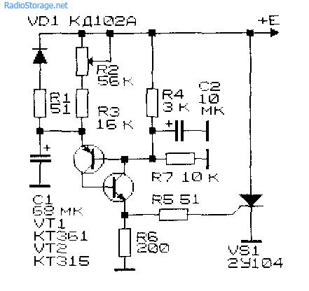 Схема реле времени на двух транзисторах и тиристоре