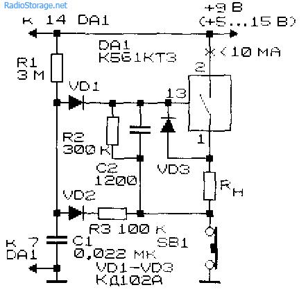 Схема КМОП-коммутатора с однокнопочным управлением