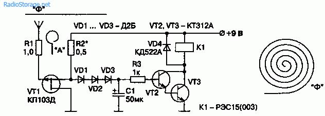 Схема индикатора напряжения поля на транзисторе КП103