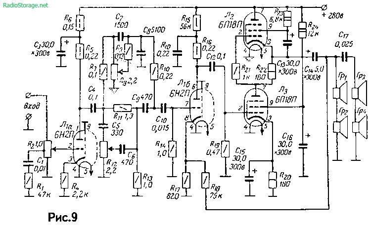 Усилитель без выходного трансформатора Л. Кононовича на 6П18П, 6Н2П