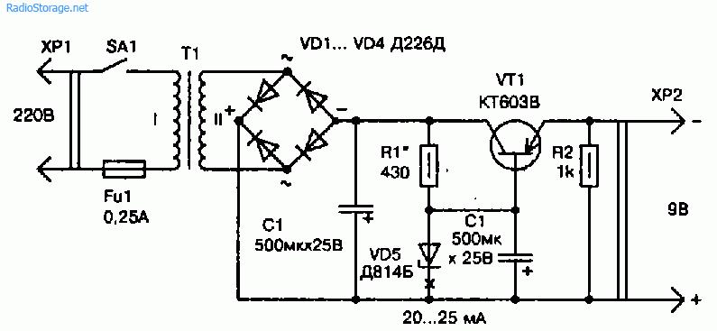 Маломощный сетевой блок питания (9В)