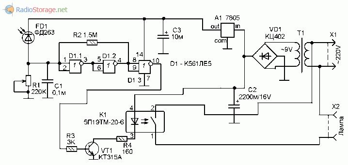Принципиальная схема сумеречного выключателя освещения на микросхеме К561ЛЕ5