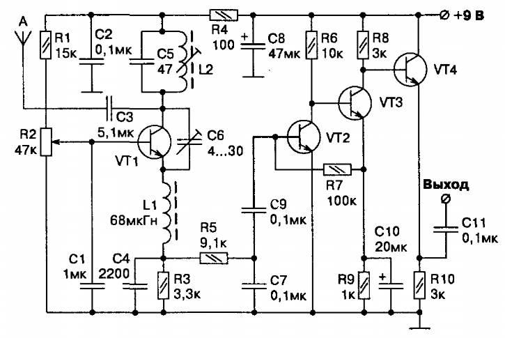 Принципиальная схема самодельного транзисторного приемника-сверхрегенератора для радиоуправления на 27 МГц