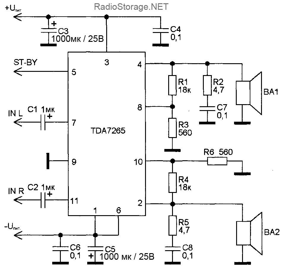 Типовая схема-включения микросхемы TDA7265 (стерео-вариант, два канала)