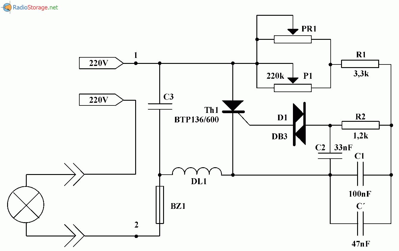 Регулятор мощности лампы накаливания, схема