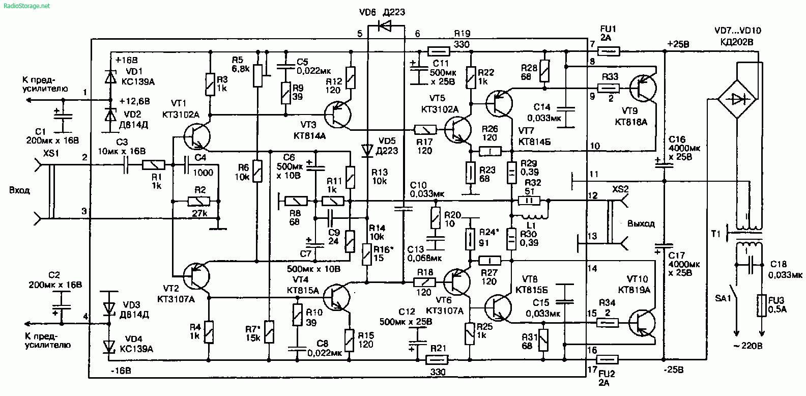 Усилитель звуковой частоты для электрогитары на транзисторах КТ818, КТ819 (35Вт)