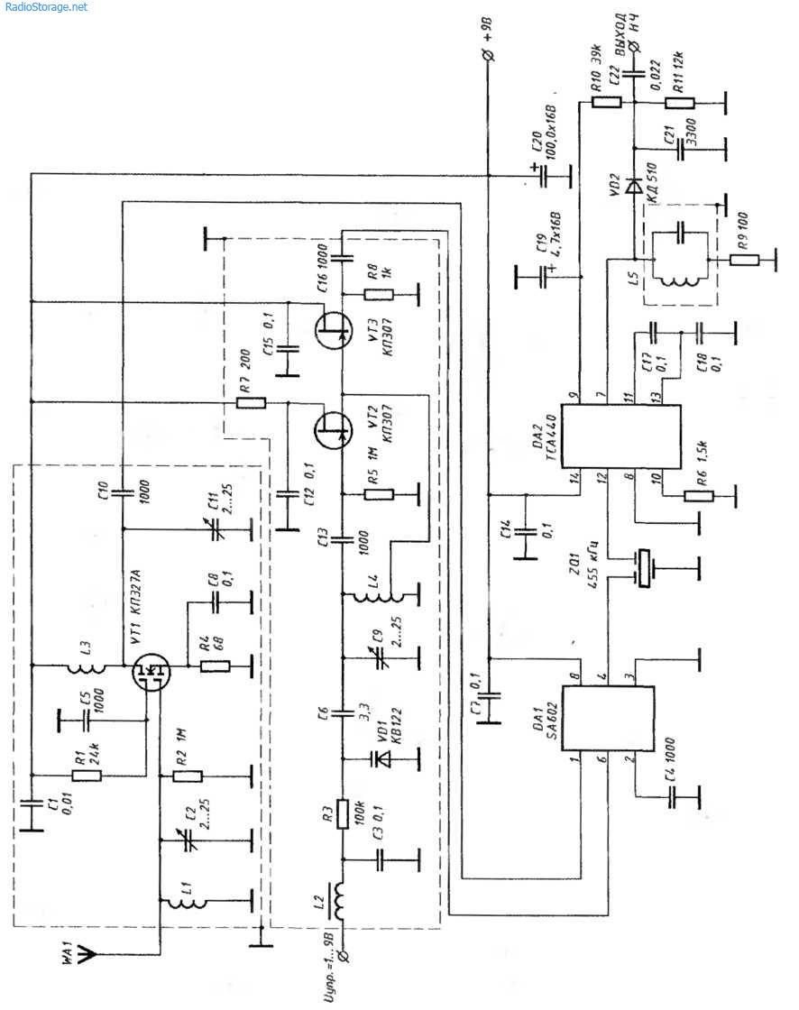 Схема приемника частоты авиаслужб 118,250 МГц
