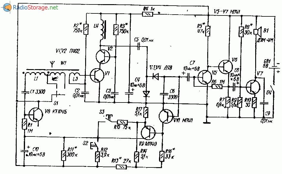 ДВ приемник с полуавтоматической настройкой на 8 транзисторах