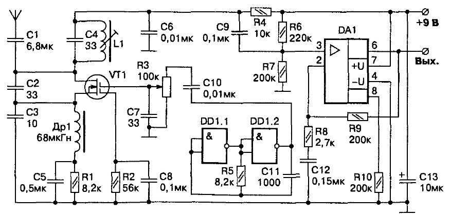 Принципиальная схема сверхрегенеративного приемника радиоуправления (26-29 МГц) на двухзатворном транзисторе