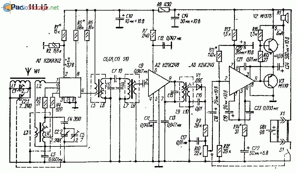 Супергетеродин на микросхемах К2ЖА242, К2УС248, К2УС245 (СВ)