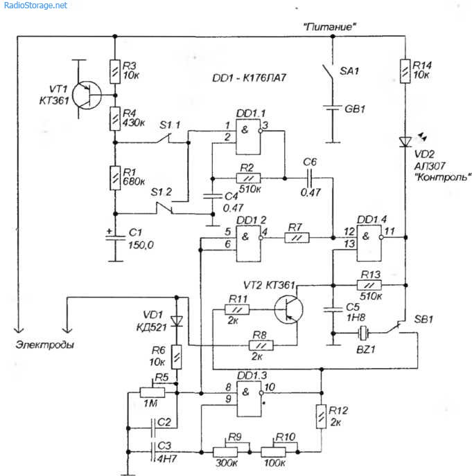Две схемы электростимуляторов