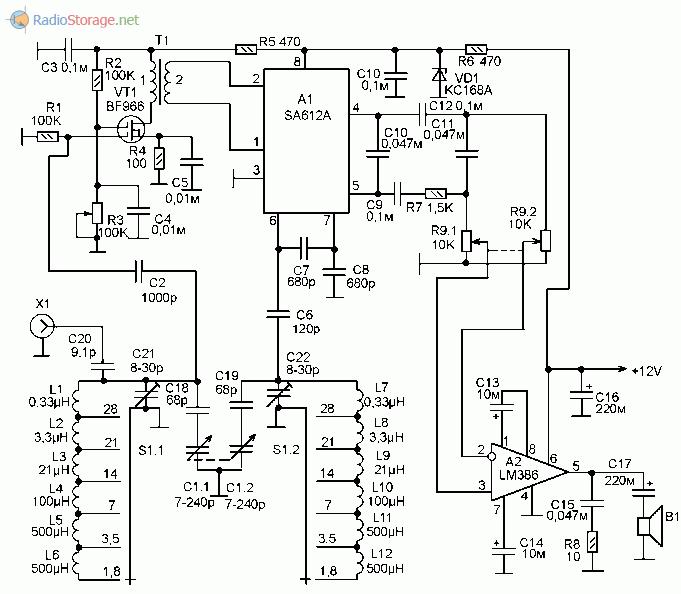 Принципиальная схема самодельного КВ приемника на любительские диапазоны 10-160м