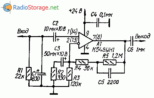 Простой усилитель воспроизведения (К548УН1)