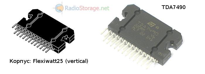 Внешний вид микросхемы TDA7490, корпус Flexiwatt 25 выводов вертикальный