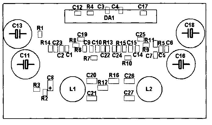 Схема расположения элементов на плате для усилителя на микросхеме TDA7490