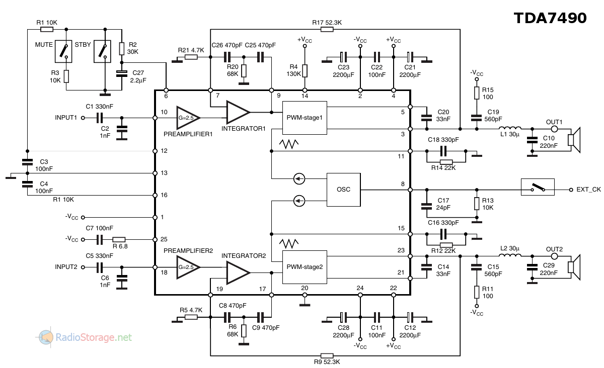 Типовая схема включения микросхемы-усилителя НЧ TDA7490 из даташита