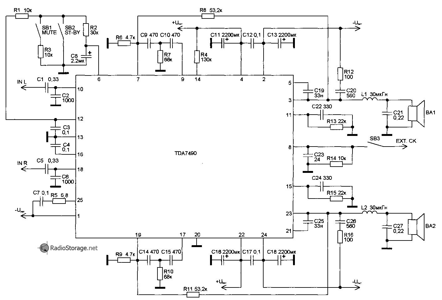 Принципиальная схема усилииеля мощности (УНЧ) на микросхеме TDA7490