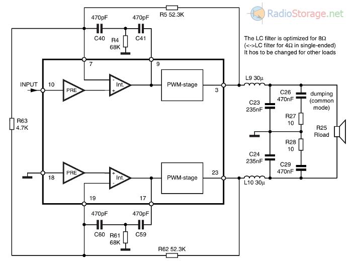 Типовая схема УМЗЧ на микросхеме TDA7490 из даташита - мостовой вариант