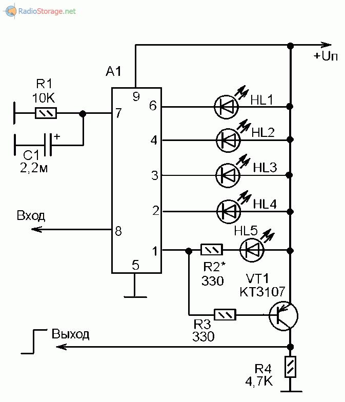 Схема получения логического сигнала с сегмента индикатора