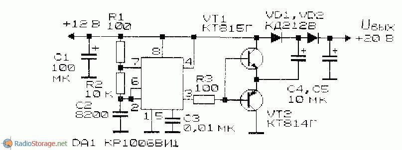 принципиальная схема преобразователя напряжения на микросхеме КР1006ВИ1