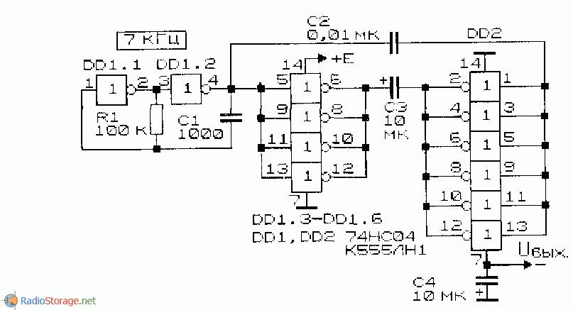 принципиальная схема инвертора напряжения на основе двух микросхем