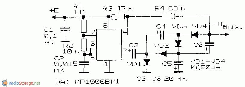 принципиальная схема преобразователя-инвертора на микросхеме КР1006ВИ1
