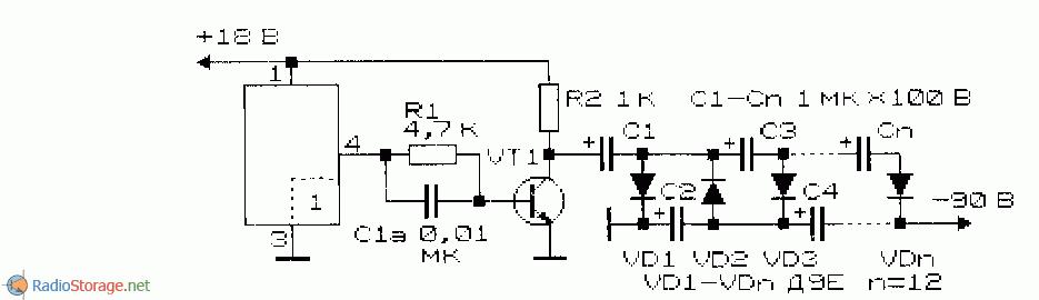 принципиальная схема преобразователя напряжения с многокаскадным умножителем