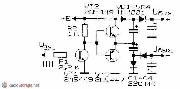 принципиальная схема выходного каскада формирователя двухполярного напряжения