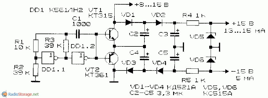 принципиальная схема конденсаторного преобразователя напряжения