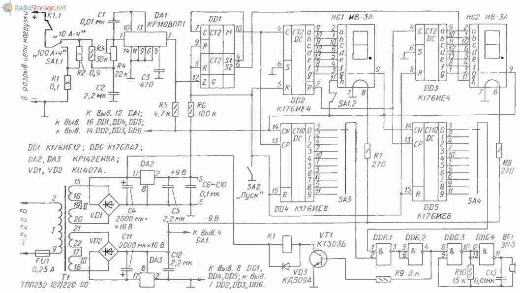 Принципиальная схема измерителя заряда аккумуляторной батареи