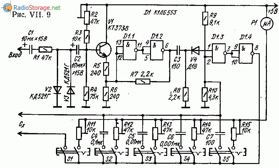 Простой частотомер - измеритель емкости со стрелочной индикацией