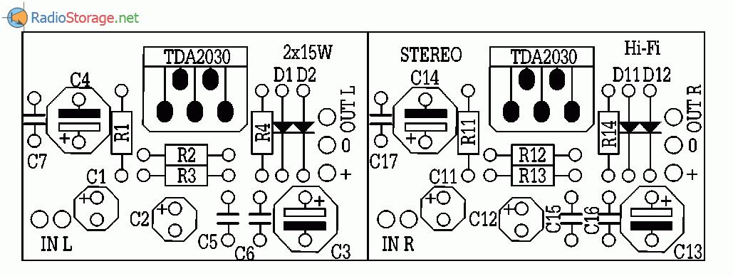 Высококачественные усилители на микросхемах TDA2030, ТСА365 (9-15 Вт), схема