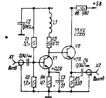 Широкополосный апериодический усилитесь РЧ на транзисторах