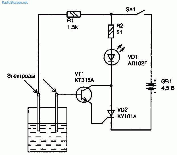 Схема сигнализатора уровня воды в пластмассовой эмкости