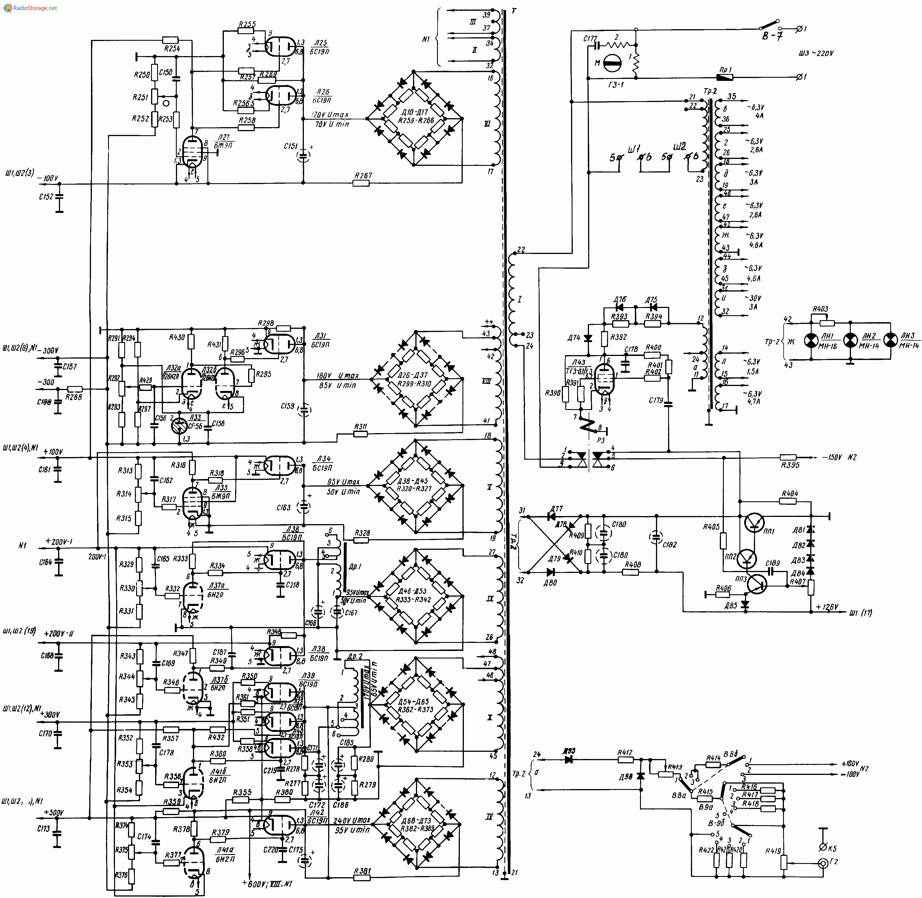 Осциллограф С1-17, схема
