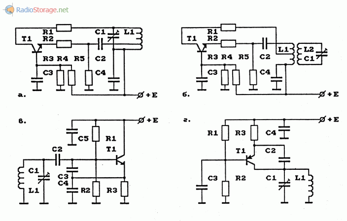 Примеры схем задающих генераторов на биполярных транзисторах