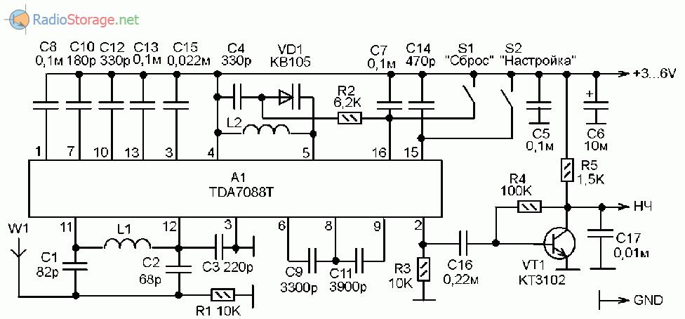 Принципиальная схема УКВ-FM приемника с цифровой настройкой на TDA7088T
