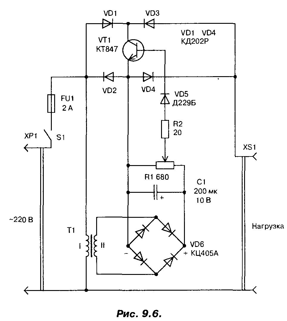 Принципиальная схема мощного регулятора сетевого напряжения 220В