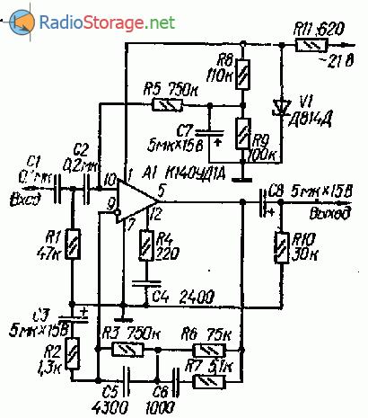 Схема предусилителя корректора (К140УД1А)