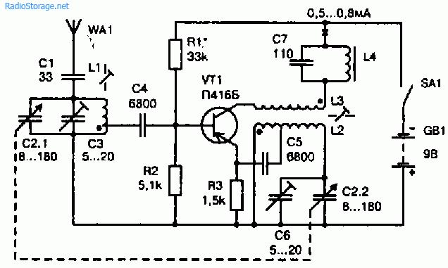 Схема коротковолнового конвертера для СВ приемника